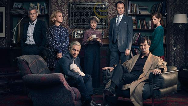D.I. Lestrade (RUPERT GRAVES), Mary Watson (AMANDA ABBINGTON), John Watson (MARTIN FREEMAN), Mrs Hudson (UNA STUBBS), Mycroft Holmes (MARK GATISS), Sherlock Holmes (BENEDICT CUMBERBATCH) and Molly Hooper (LOUISE BREALEY).