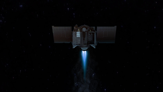 Artist rendition of OSIRIS-REx's main engine firing.