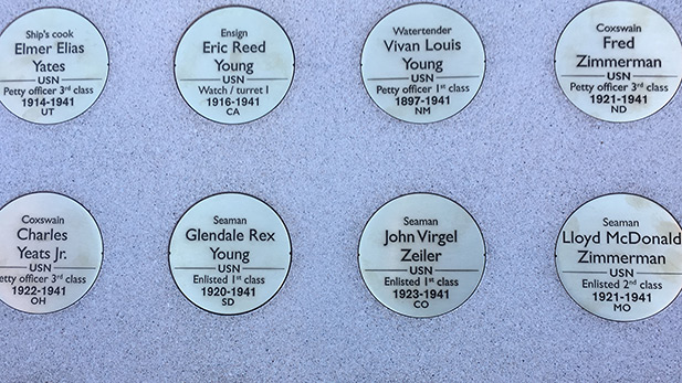 USS Arizona Memorial Medallions spotlight