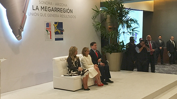 Sonora Gov. Claudia Pavlovich, Mexican Foreign Affairs Secretary Claudia Ruiz Massieu and Arizona Gov. Doug Ducey spoke at the Arizona-Sonora Commission Summit in Hermosillo in early December, 2016.