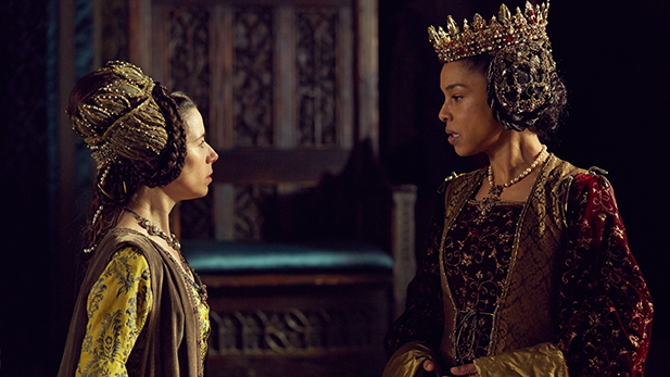 "Sally Hawkins (as ELEANOR) and Sophie Okonedo (as MARGARET) in ""The Hollow Crown: The Wars of the Roses Henry VI (Part I)."""