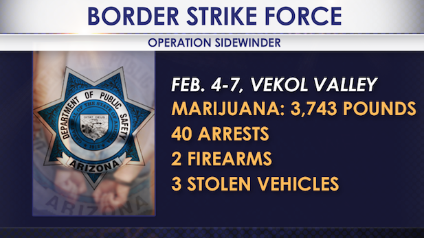The Department of Public Safety released these details on a strike force operation last week in Pinal County.