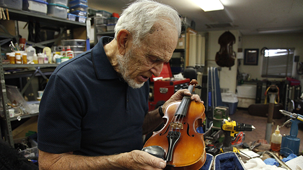 """Never saw the inside of a violin in all the years I'd played, but I saw plenty of insides,"" Dr. Bloomfield said. That changed when he started at the repair shop."