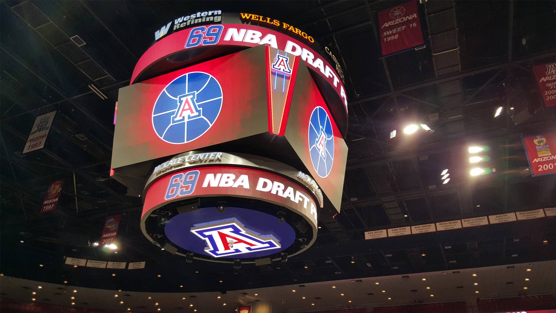 The scoreboard inside McKale Center.