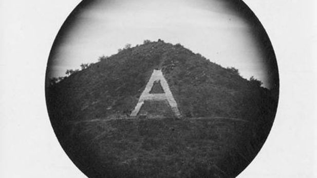 "This is the first-known photograph of the finished ""A"" on Sentinel Peak. Photo Courtesy of UA Special Collections."