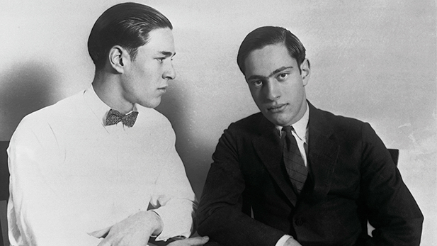 Richard Loeb (left) and Nathan Leopold, who confessed to the murder of Bobby Franks. July 1, 1924.