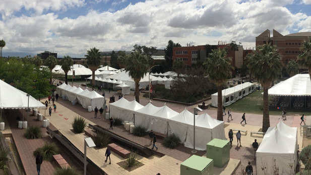 Hundreds of tents are erected on The University of Arizona mall in preparation for the Tucson Festival of Books.