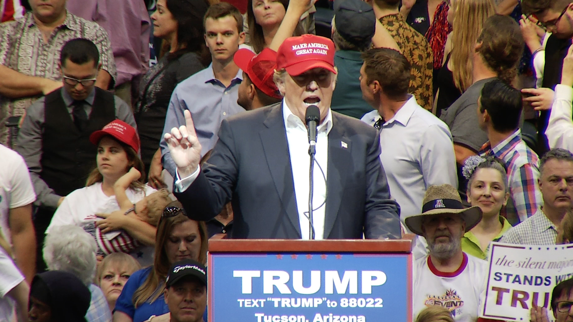 Republican Donald Trump campaigns in Tucson. March 19,2016