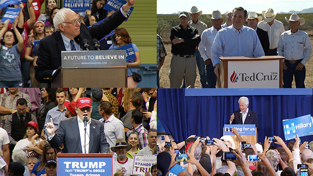 Campaigning in Arizona, clockwise from upper left: Democrat Bernie Sanders, Republican Ted Cruz, former Democratic President Bill Clinton campaigning for his wife Hillary, Republican Donald Trump.