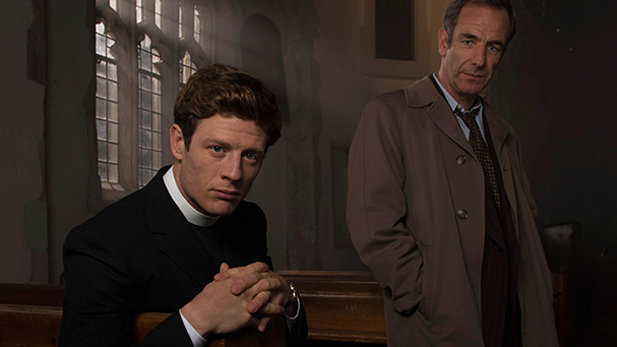 James Norton as Sidney Chambers and Robson Green as Inspector Geordie Keating