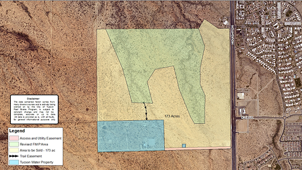 The yellow portion of the parcel indicates the land purchased by Mattamy Homes. The green is the 103-acre Fantasy Island Trails Park. Blue is Tucson Water land with a utility easement indicated in red.