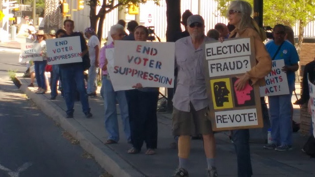 Protesters in downtown Tucson say they and others were kept from voting in March 22 presidential preference primary election.