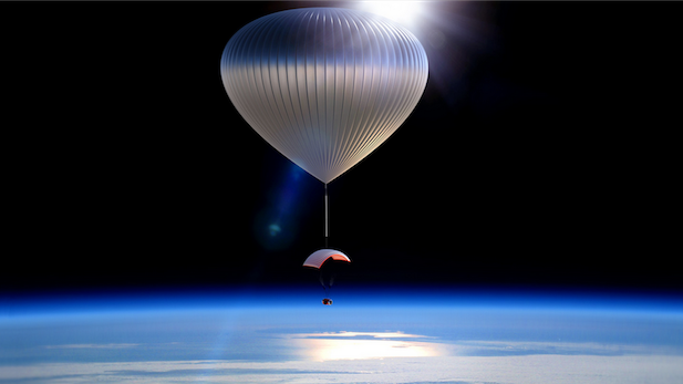 An illustration of a World View balloon above the Earth.