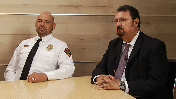 Mario Novoa, the fire chief of the City of Douglas and his counterpart in Agua Prieta, Carlos Arena.