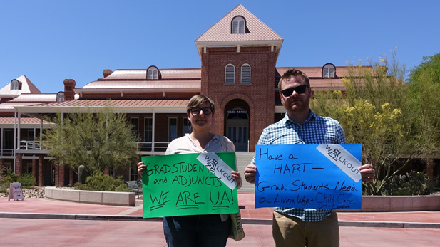 University of Arizona graduate students walked out Thursday, April 14, 2016. Among their demands are living wages for all employees, better health care plans, child care on campus and stronger advocacy in the Legislature.