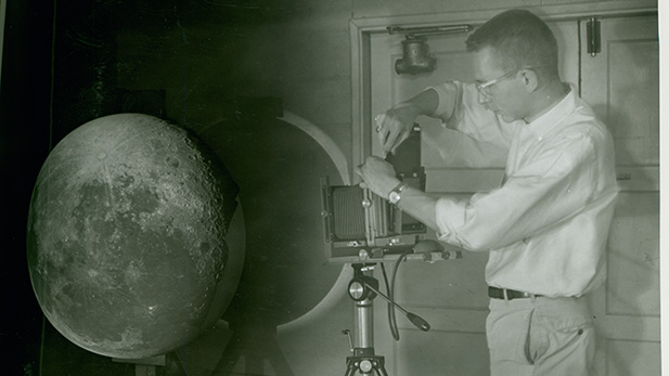 William Hartmann photographs an image of the Moon projected on a three-foot hemisphere in the UA Lunar and Planetary Lab's first premises, a Quonset hut.