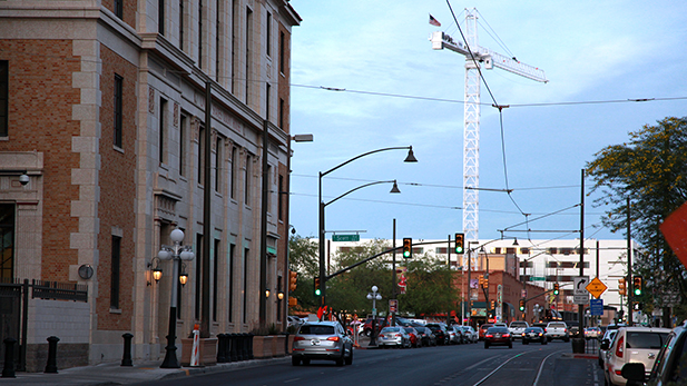 Construction for a hotel in downtown Tucson on April 5, 2016.