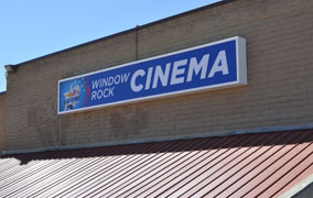 window rock cinema sign focus large