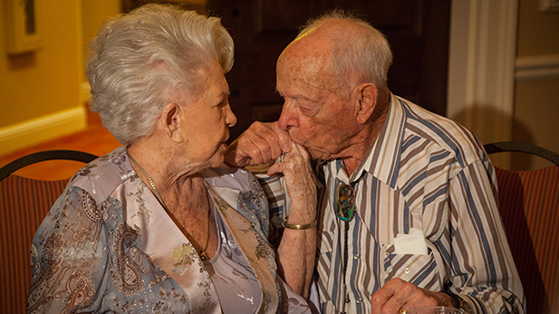 "After 80 years of marriage, Jim and Noni still enjoy cocktail hour together. ""She's kind of graduated though, she likes her champagne better than she likes a martini,"" Jim said. Noni replied that it gives her a ""spark."""