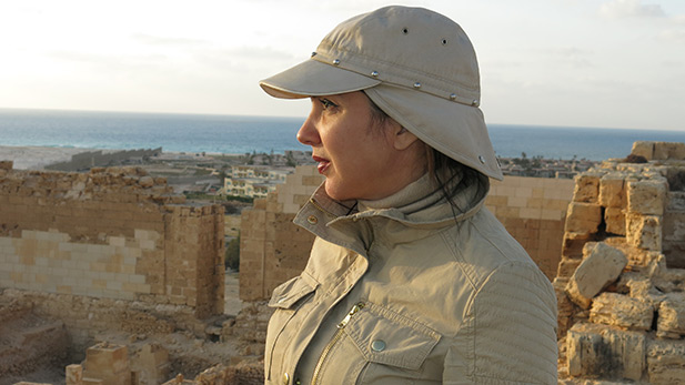 Main contributor Kathleen Martinez, at Taposiris Magna temple ruins.