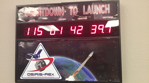 A clock counts down the days until the OSIRIS-REx launch in September 2016.