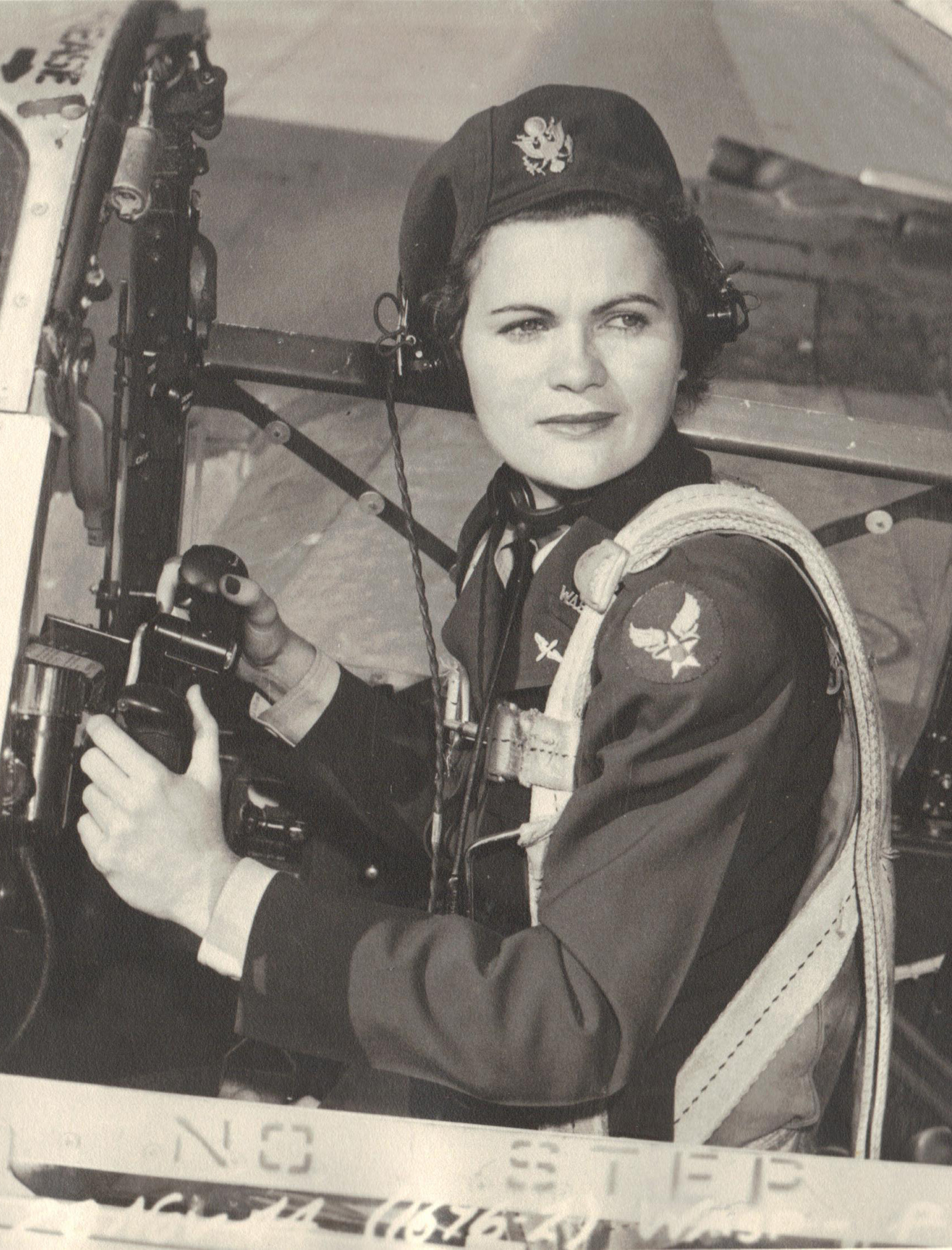 Ruth Helm in the cockpit