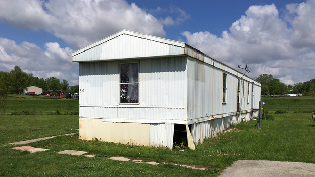 The trailer in Marion, Ohio, where labor traffickers kept their victims.