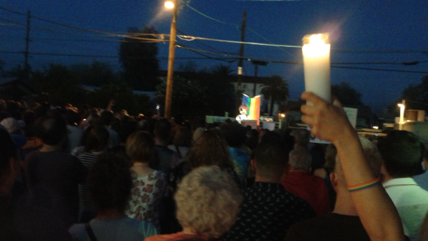 Hundreds gathered on Tucson's North Fourth Avenue to remember the victims in Orlando, Fla.