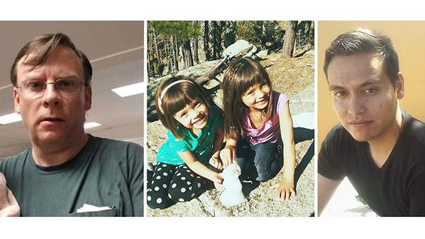 Missing hikers (from left) William Swango, 57;  Layla Nash, 4; Riley Nash, 6.and Ronald Swango, 27