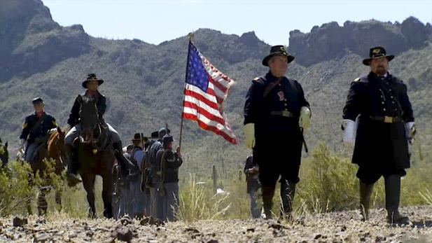 Civil War reenactors gather at Picacho Peak.
