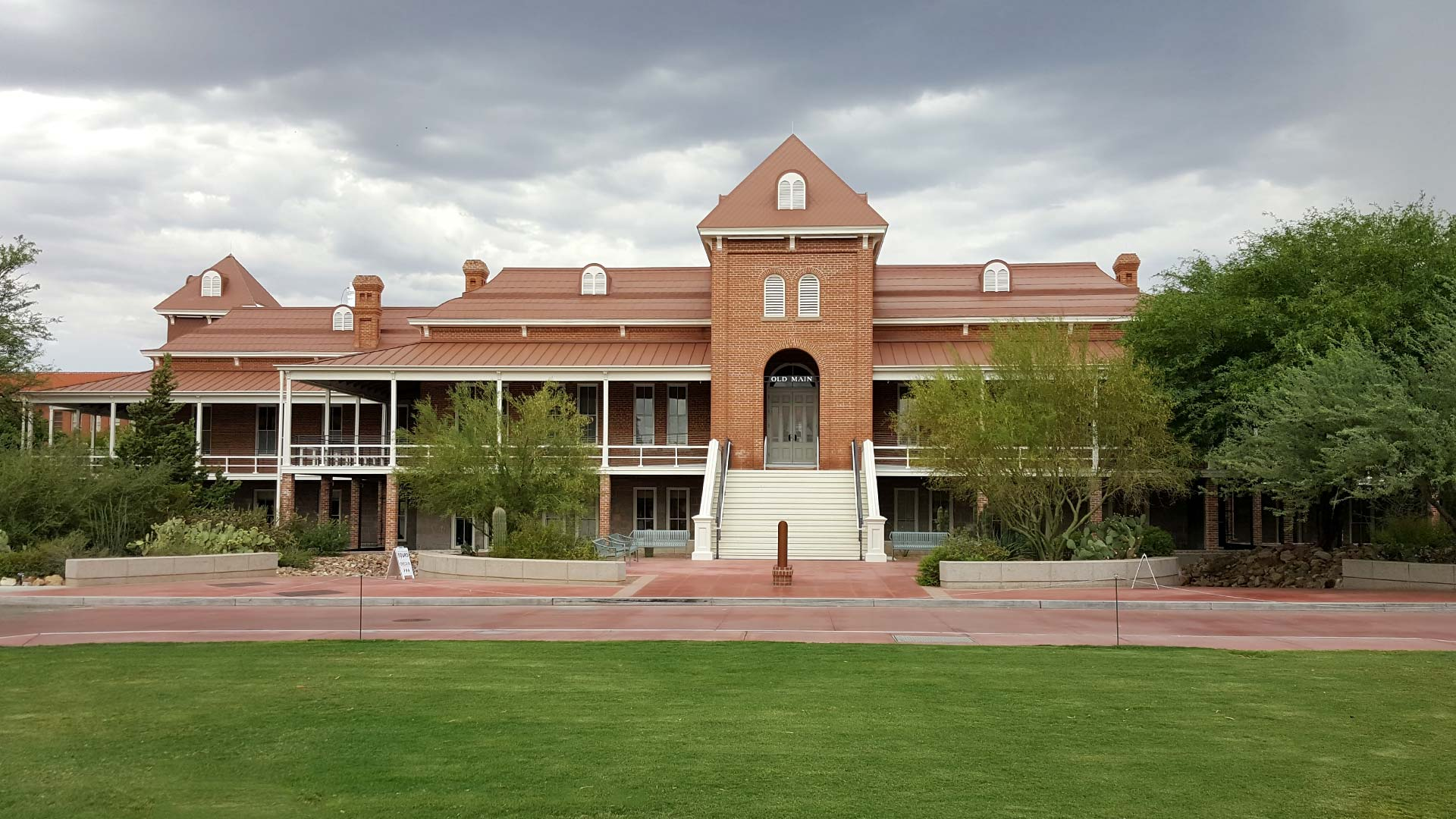 A cloudy sky over Old Main at the University of Arizona.