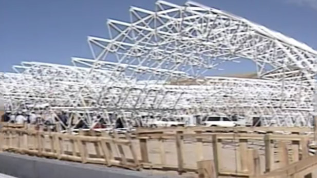 From file footage of the 1989 construction of Biosphere 2.