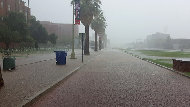 Heavy monsoon rains blanket the campus of the University of Arizona.