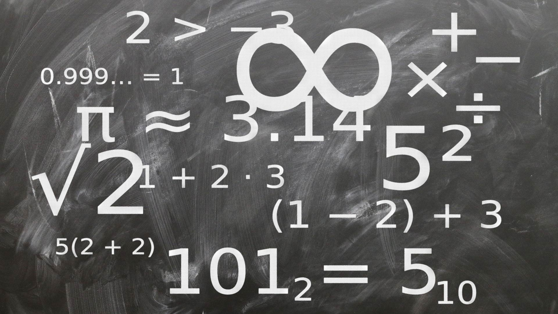 Mathematics formulae and characters on a blackboard.
