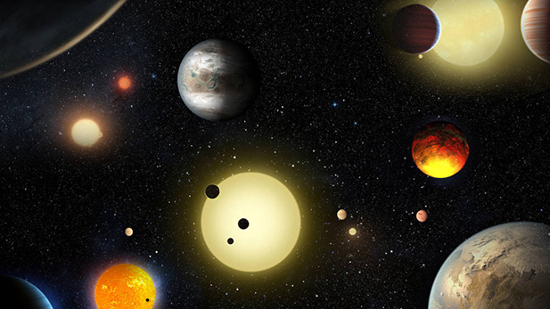 An artist's concept of select planetary discoveries made by NASA's Kepler space telescope.