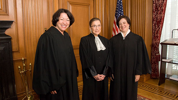Supreme Court Justices Sotomayor, Ginsburg, and Kagan spot