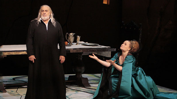 Placido Domingo as Francesco Foscari and Marina Poplavskaya as Lucrezia Contarini
