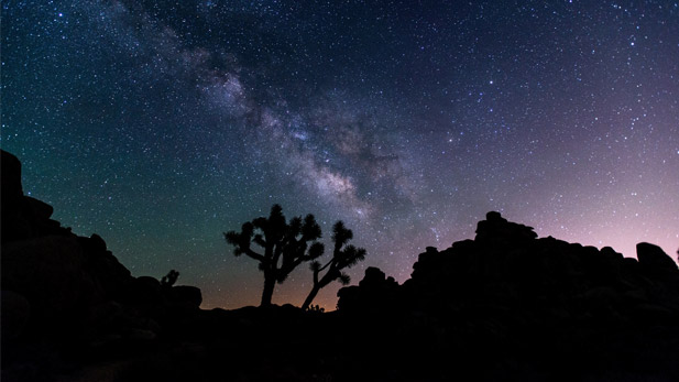 The night sky above the desert.