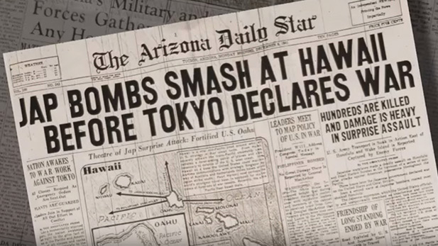 An archive photograph of a World War II headline.