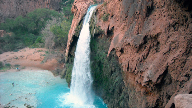 Looking down at Havasu Falls.
