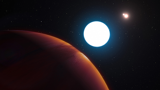 An artist's impression shows a view of the triple star system HD 131399 from close to the giant planet