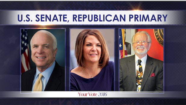 Republican Senate candidates: incumbent John McCain, left, Kelli Ward, Clair Van Steenwyk.