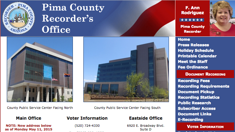 Pima County Recorder's website, where voters can request an early ballot, check their ballot status, find polling locations.