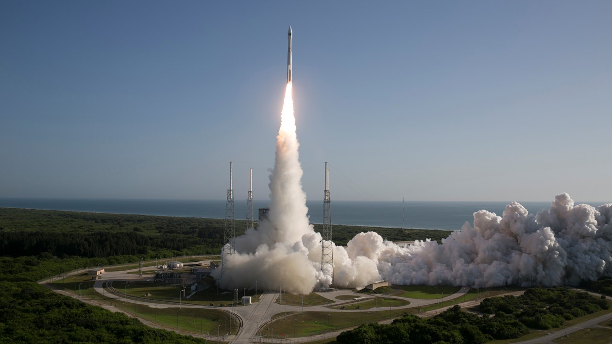 A United Launch Alliance Atlas V rocket lifts off from Cape Canaveral Air Force Station.