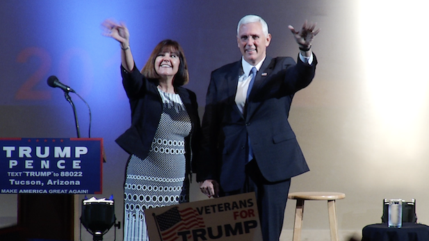 Republican VP candidate Mike Pence and his wife, Karen, greet supporters at the Fox Tucson Theatre, Aug. 2, 2016.