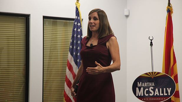 U.S. Rep. Martha McSally, R-Ariz., speaks to supporters Aug. 30, 2016.