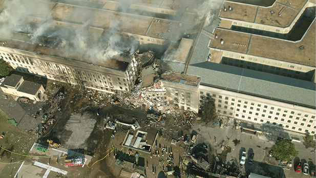 """The Pentagon post 9/11 attack. Aerial of collapsed """"E"""" ring."""
