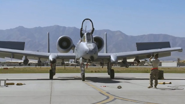 An A-10 Warthog on the runway at Davis Monthan Air Force Base.