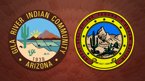 The seals for the Gila River Indian Community and the Tohono O'Odham Nation.