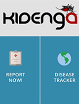 A screenshot of the Kidenga disease-tracking app.